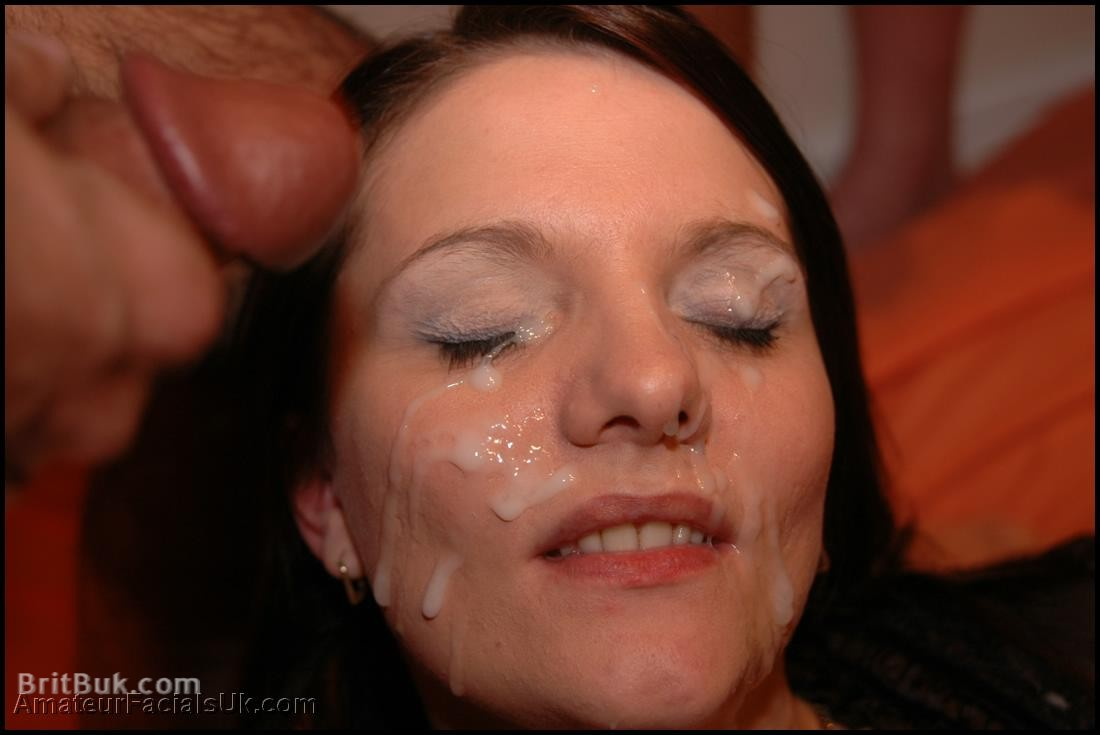 Lovely Kerry taking one more facial in her 5th Bukkake!