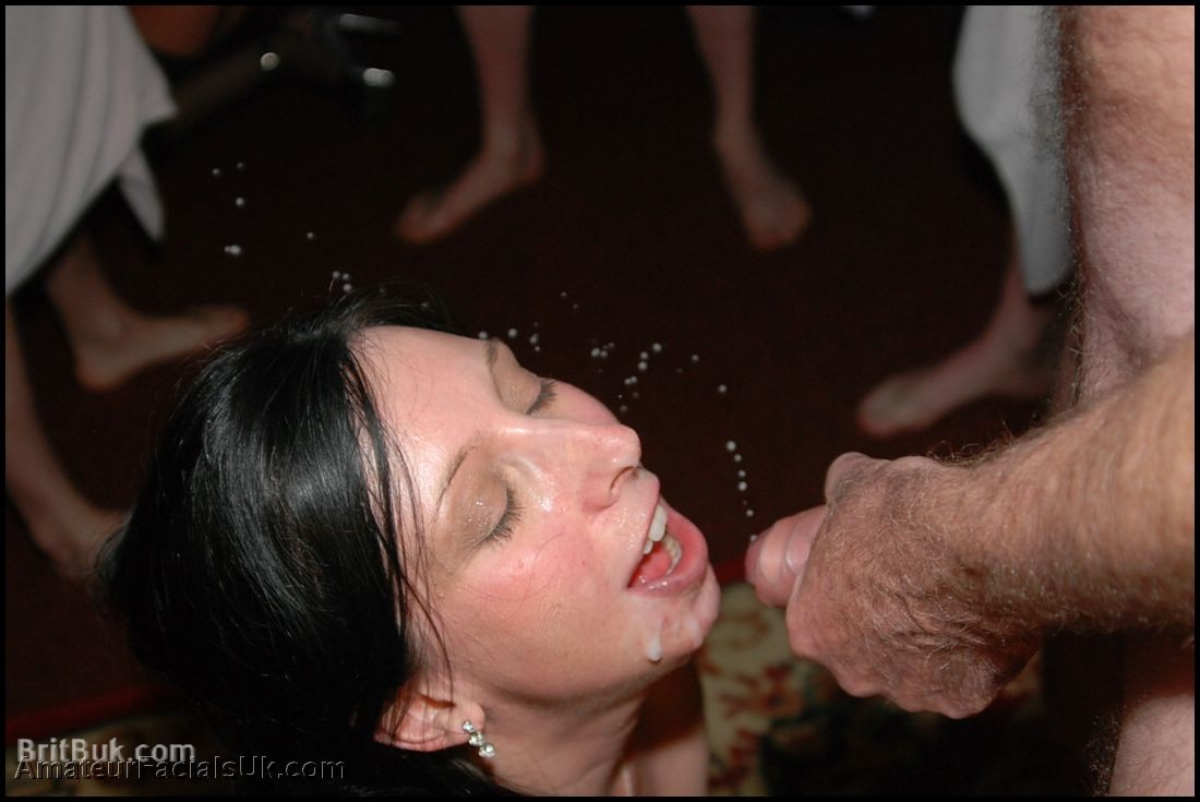 Eva face splattering with hot semen