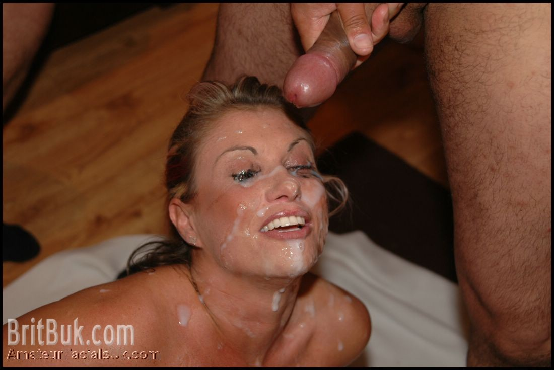 Janca totally drenched, gets her brand new cum mask makeup!
