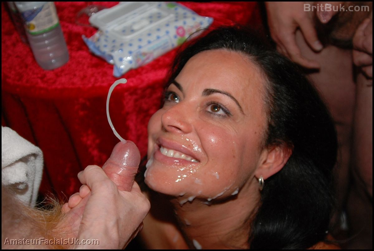 This amazing mature woman takes so many facial cum shots; until her face is ...