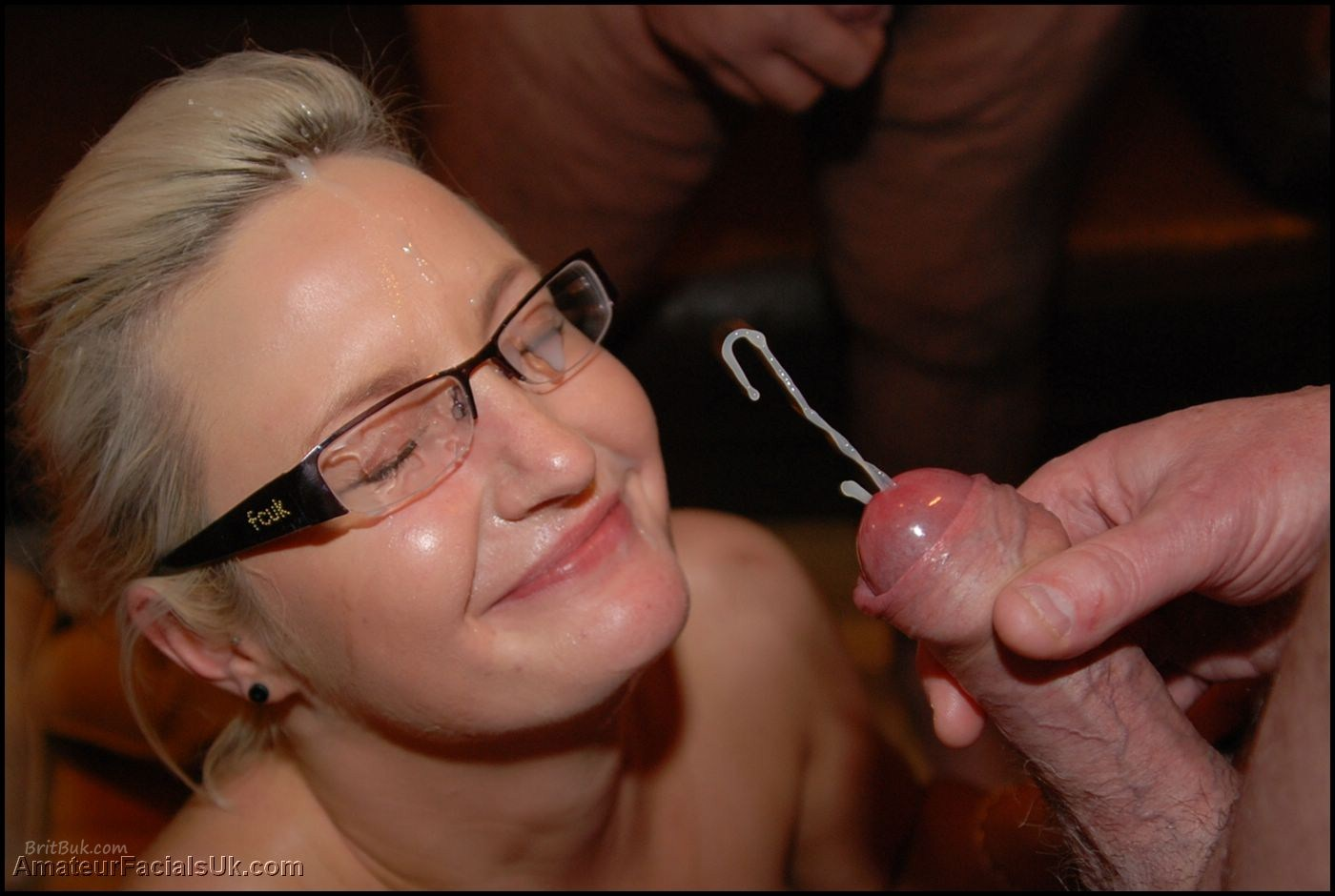 blonde glasses massive facial