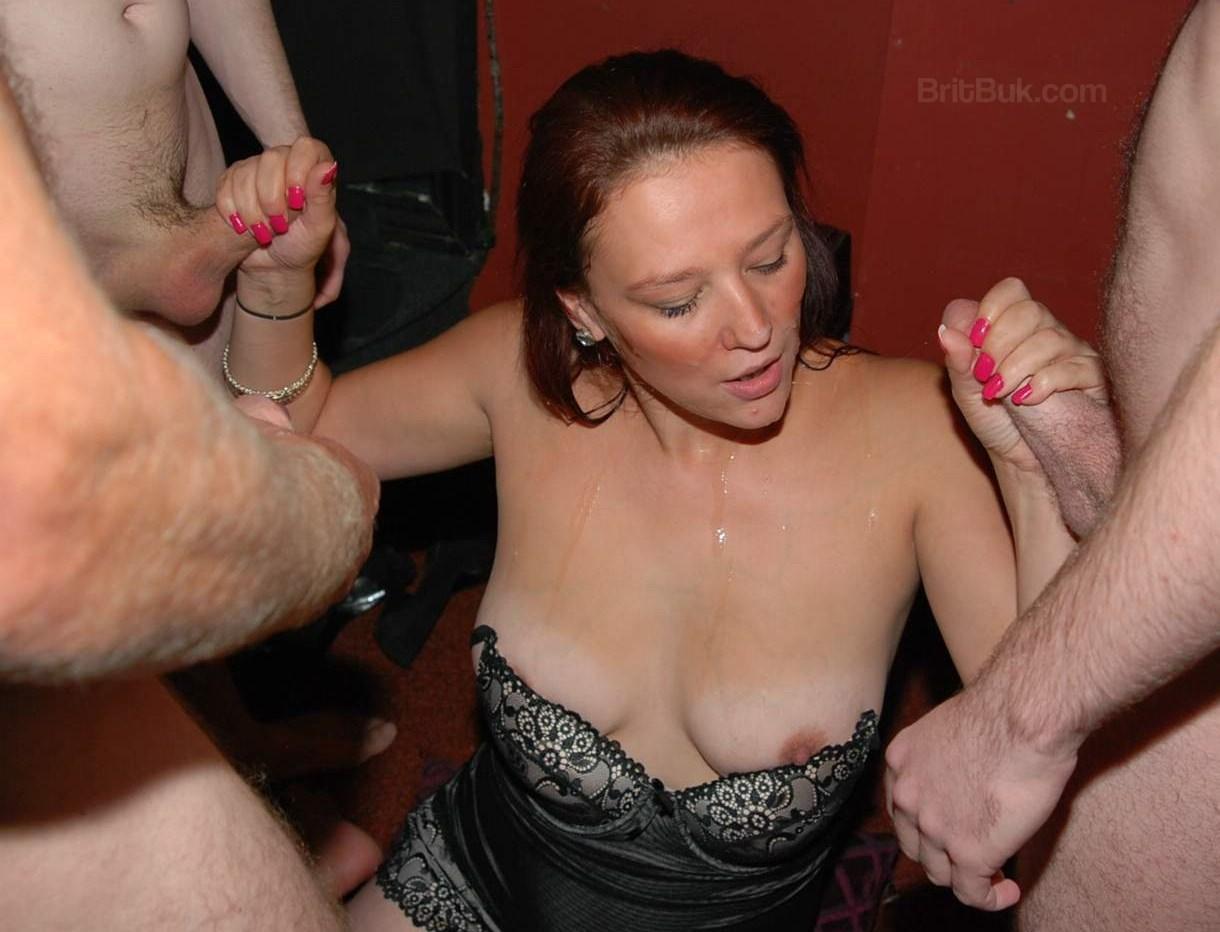 elise, next door girl from UK in a bukkake party
