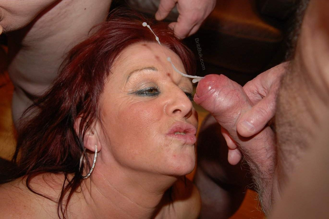 Mature slut cum facial bukkake