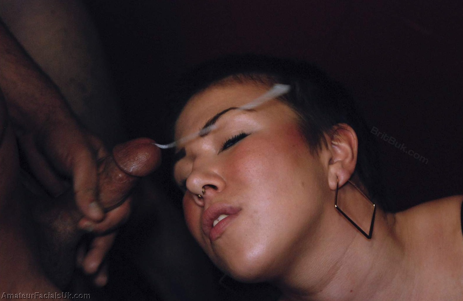 Chiara ShortHairandaSemenMask 016  Chiara, Sexy Short Hair & A Creamy Semen Mask!, Amateur British Bukkake
