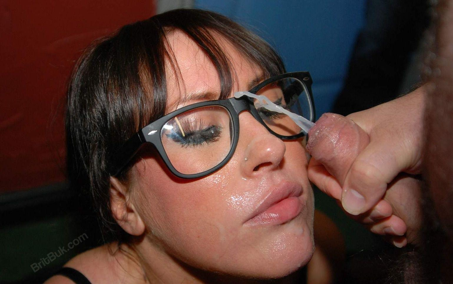cum on her glasses